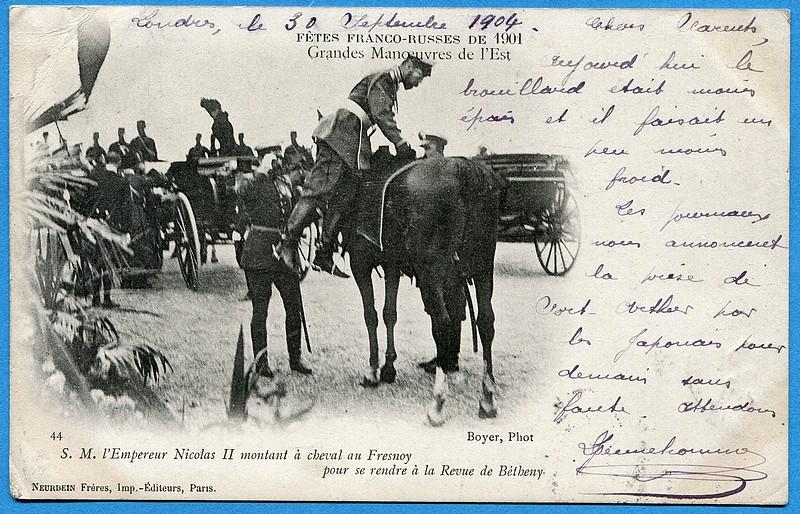 Cpa f tes franco russe de 1901 s m l 39 empereur nicolas ii montant cheval - Definition de franco de port ...